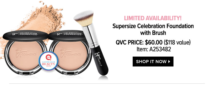 LIMITED AVAILABILITY! - Supersize Celebration Foundation with Brush - QVC Price: $60.00 - $118 value - Item: A253482 - SHOP IT NOW >
